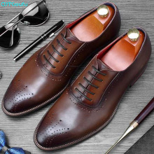 QYFCIOUFU Luxury Italian Formal Dress Shoes For Men Handmade Wedding Office Mans Suits Footwear Genuine Cow Leather Oxford