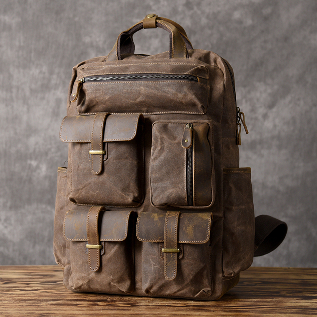 215d352df240 FOLGANDROS Original Canvas Backpack 2018 Men Classic Large Capacity  Multifunctional Shoulder Bags Multi Pockets Vintage Rucksack