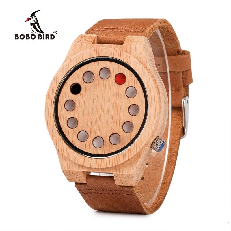 купить BOBO BIRD Luxury Quartz Mens Watches Bamboo Dial with 12 Holes Wood Wristwatches Quartz-Watch Relogio Masculino онлайн