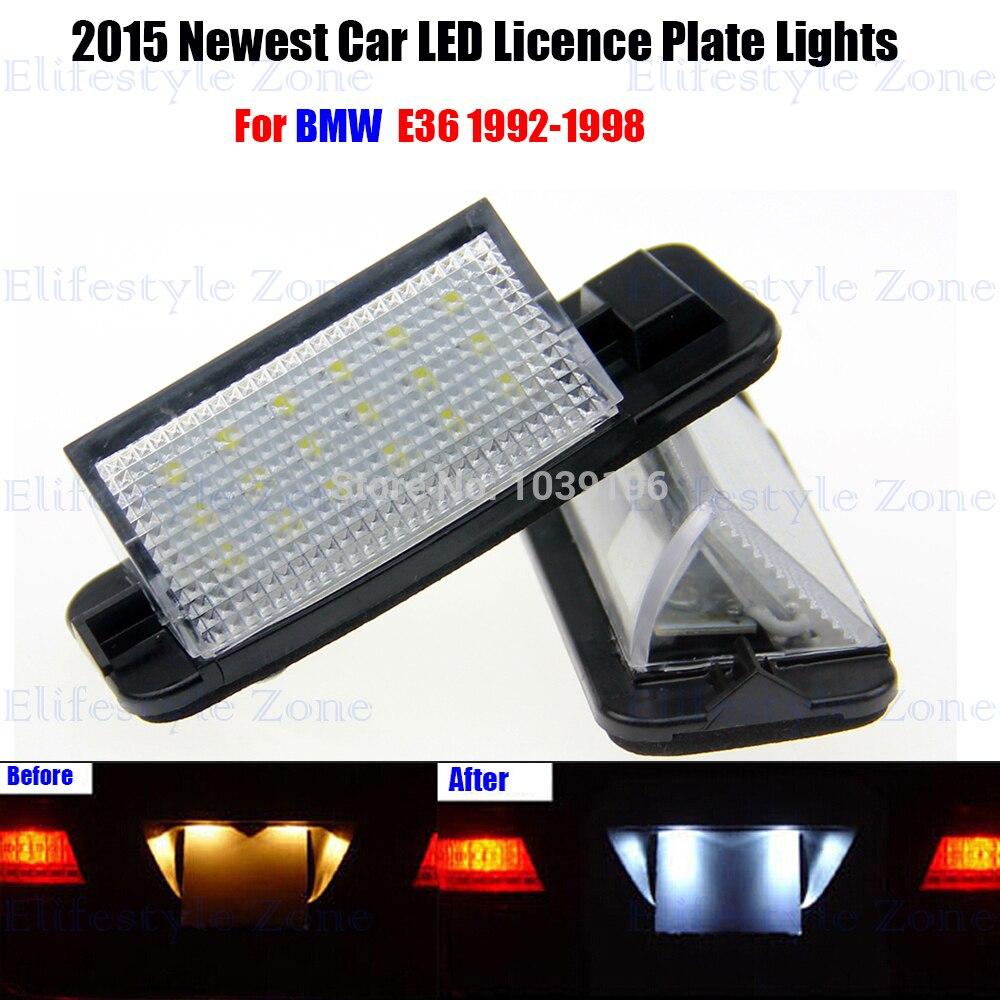 2x No Error White 18 SMD LED License Plate Light For 92-99 BMW E36 325i 328i M3
