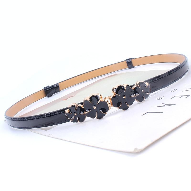 Adjustable Patent Women Waist Leather Belt Flower Girdle For Dresses Female Ladies Waistband Straps White Black