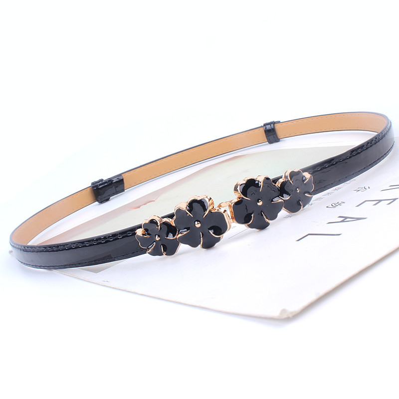 Adjustable patent women waist leather   belt   flower girdle for dresses female ladies waistband straps white black