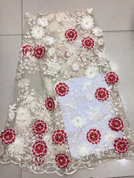 2018 Latest Fashion African Lace Fabric Handmade Of Beaded And 3D Multicolor Flowers High Quality African French Lace Fabrics