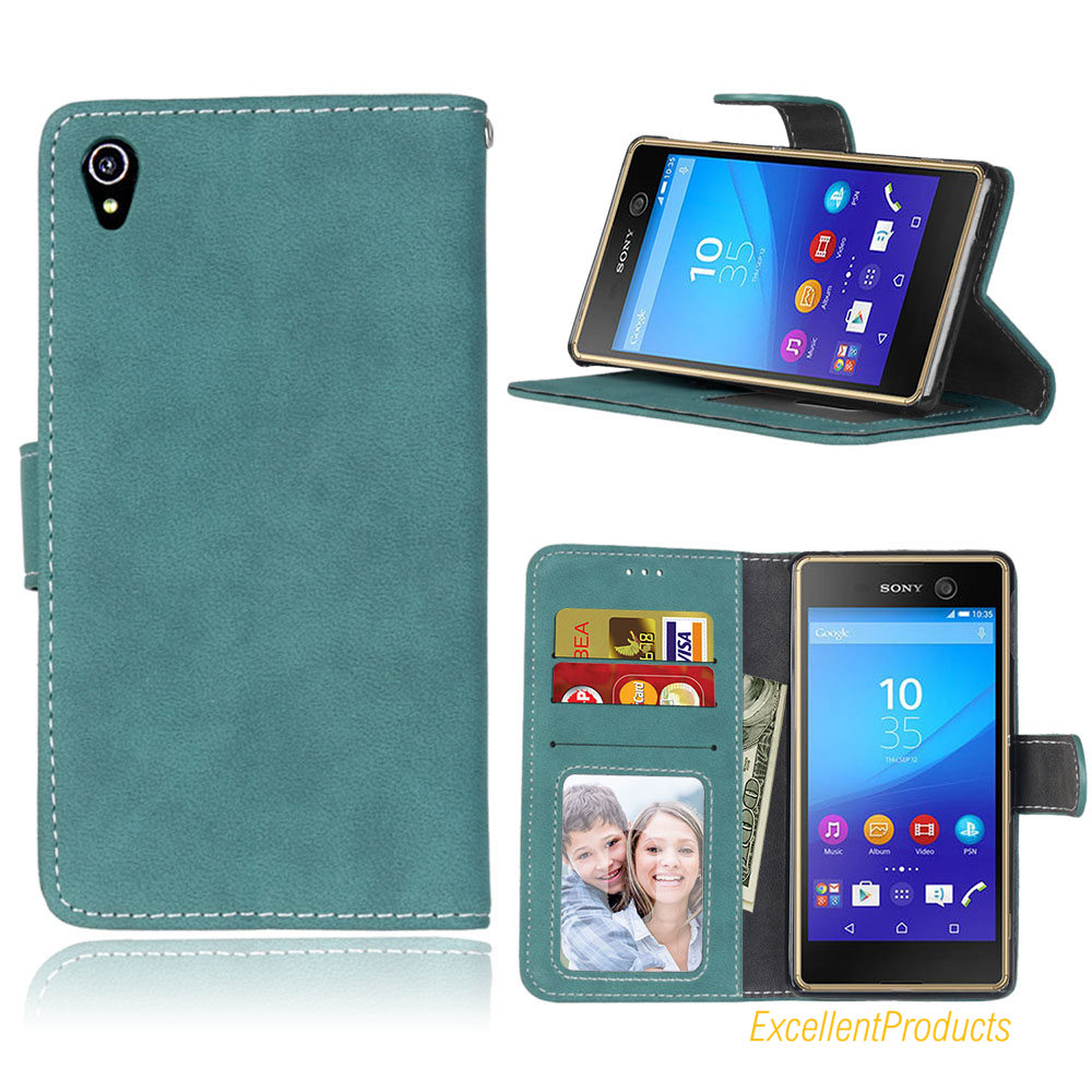 Flip PU Leather Cover Case For Sony Xperia M4 Aqua Retro Scrub Cellphone For Sony Xperia M4 Aqua Housing Card Slot Holster