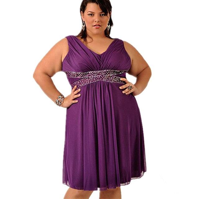 Plus Size Prom Dress With Beading V Neck Knee Length Chiffon Large ...