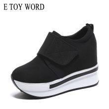 E TOY WORD women sneakers Wedges platform Vulcanize Shoes women platform shoes Hook & Loop comfortable Ladies Shoes