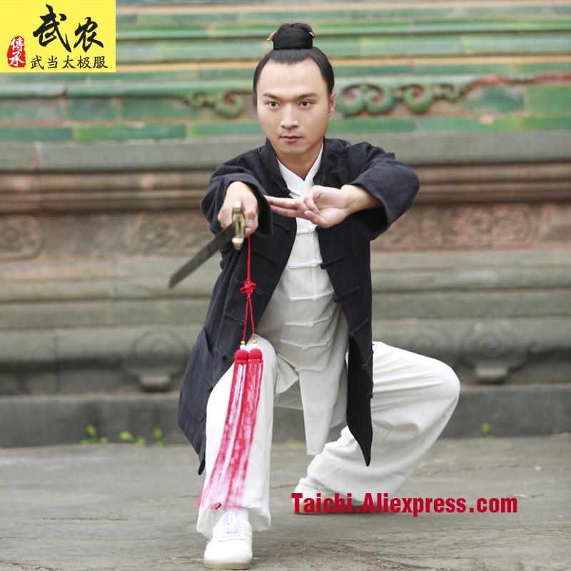 Handmade Linen Tai Chi Uniform Kung Fu Martial Art Suit Wing Chun Uniform Chinese Stlye Clothes Three Pieces Jacket Shirt Pants