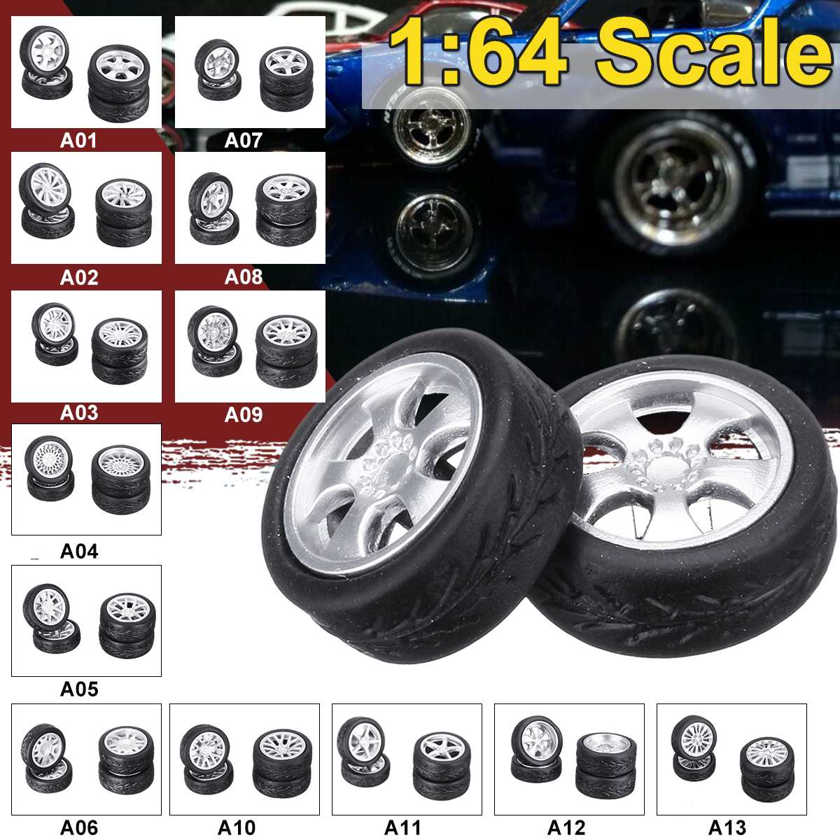 4 Pcs/set 1:64 Model Modified Tire Diecasts Alloy Wheel Tire Rubber Toy Vehicles Model Car Accessories 2 Size Tire