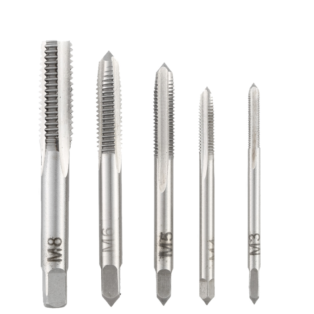 5pcs/set Straight Groove Tap Bearing Steel Mini Straight Flute Hand Taps Drilling Machine Accessories Round Shank Perforator 1pcs alloy steel hand use flute 6 flute straight shank hand reamer 26mm