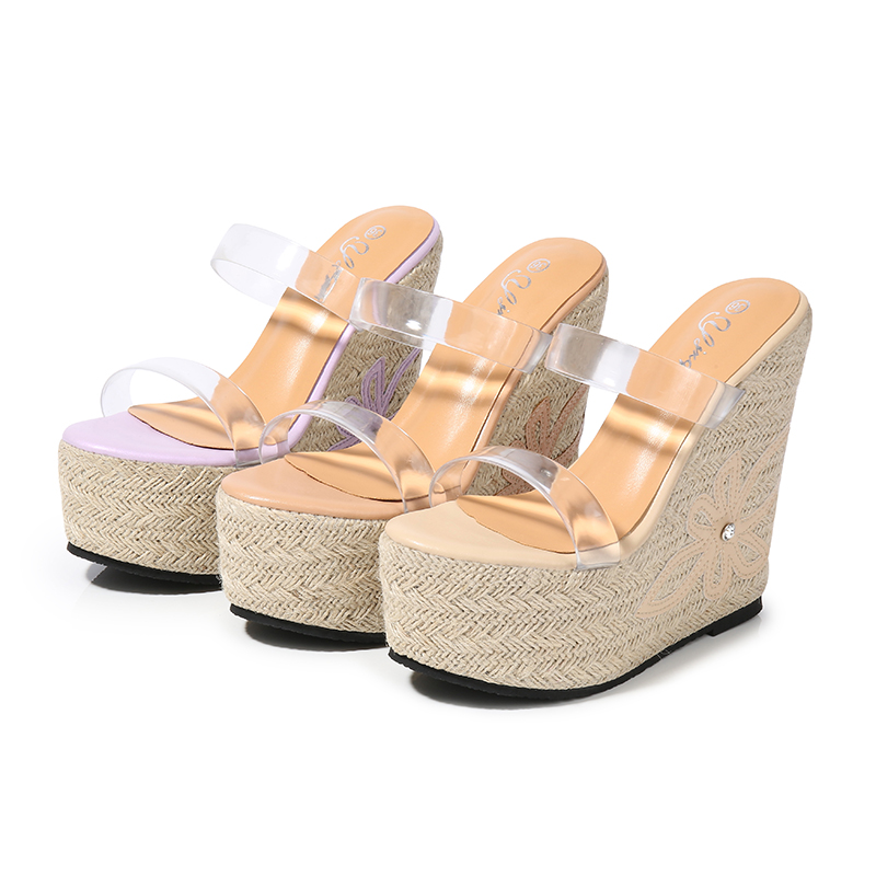 Woman Sandals 2019 Summer With Platform 15cm High Heels Sandals Women Transparent Shoes Ladies Purple Sexy