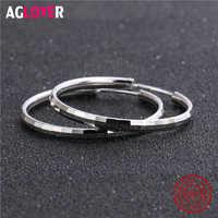 Round Hoop Earrings Genuine 925 Sterling Silver 32mm for Women Trendy Circle Earrings Jewelry Girls Festive Best Gift