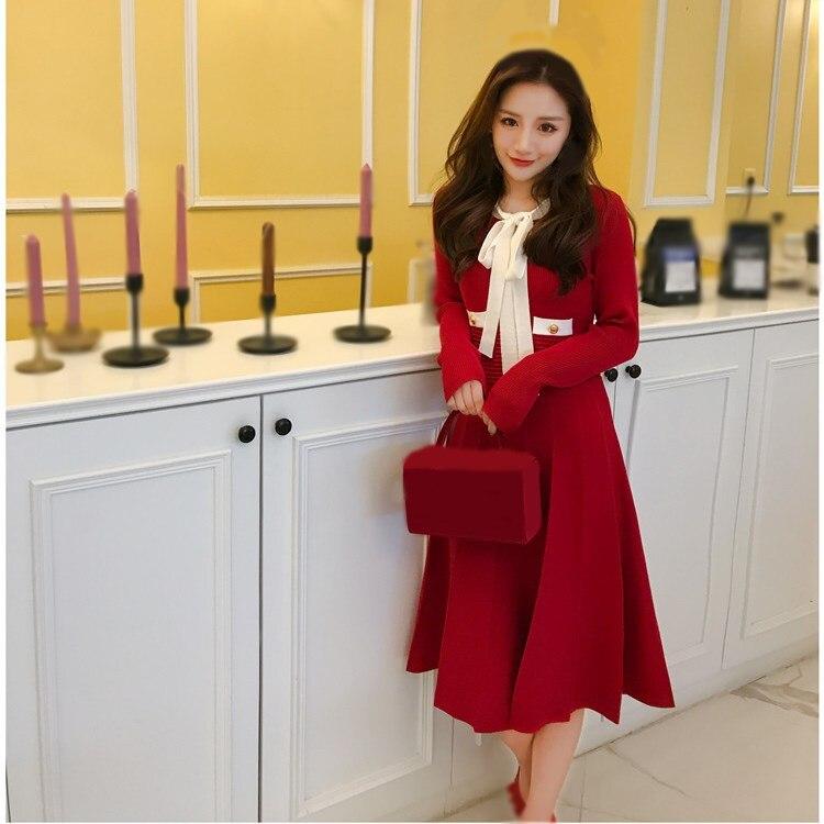 Autumn Spring Women Pleated Dress Vintage Long Sleeve Bow Dress Elegant Female Slim A-line Dress