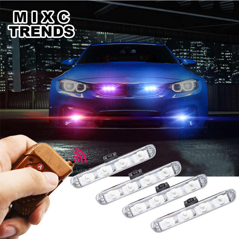 4x4LED Wireless Remote 12V Automobiles Car Strobe Warning light Flashing Flasher DRL Ambulance Emergency Police day lights