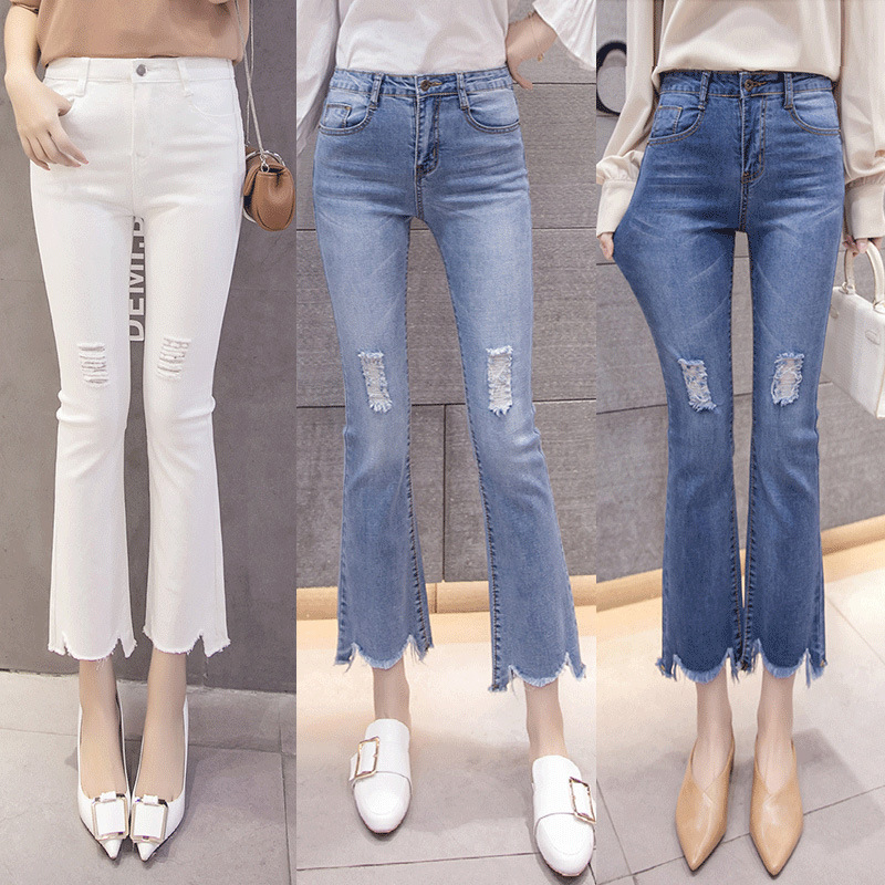 New Fashion Skinny Jeans Woman Fashion Elastic High Waist Wide Leg Ripped Stretch Washed Frayed Flare Jeans Plus Size