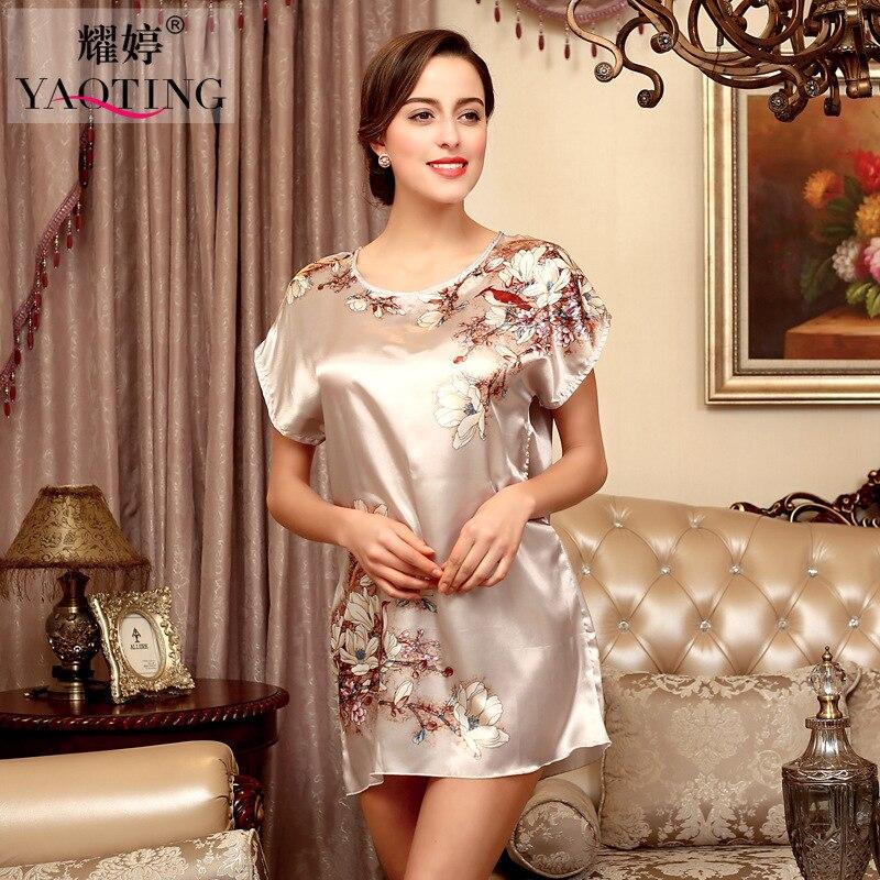 HI BLOOM Women 3 Color Silk Satin Short Night Robe Solid Dress Robe ...