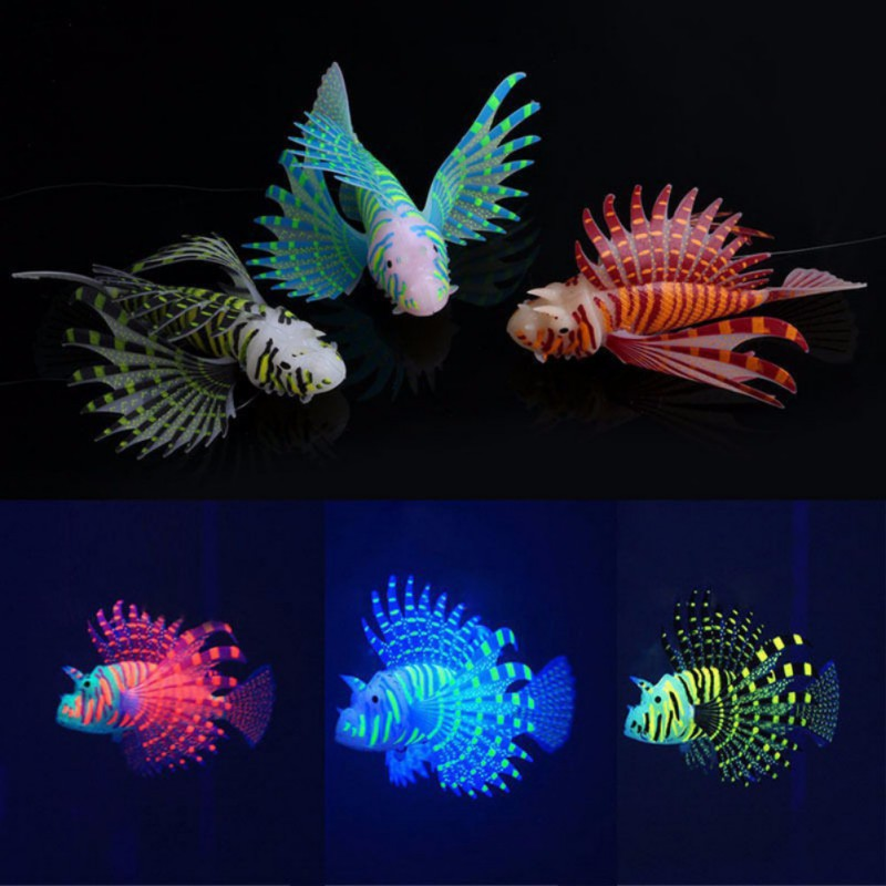 Aquarium Decoration Silicone Decor Fake Fish Tank Funny Ornament Jewelry Sucker Artificial Luminous Night Light Aquarium Fish rysunek kolorowy motyle