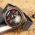 Moda Reloj de Madera de Bambú Natural de Madera de Estilo Steampunk Skull Original Creativo Reloj de Cuarzo de Los Hombres Reloj de pulsera de Regalo