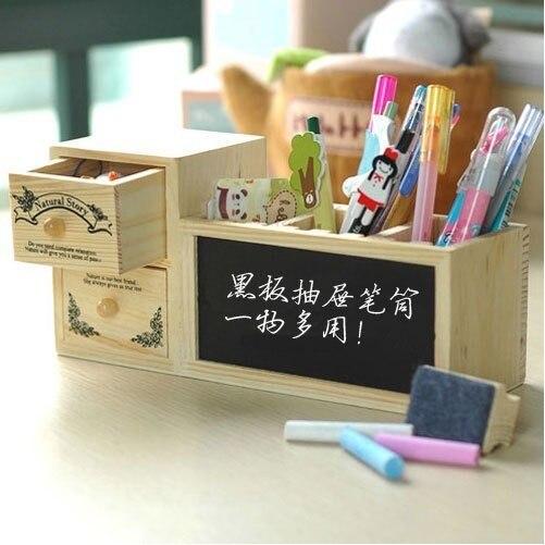 FREE shipping Fashion double layer drawer wooden pen student blackboard pen small blackboard message board fashion student guide to blackboard
