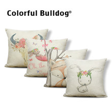 Personalized Animal Painted Goat Rabbit Fox Pillow Square 17x17inches Polyester Garland Deer Balloon Decoration Cushion Covers
