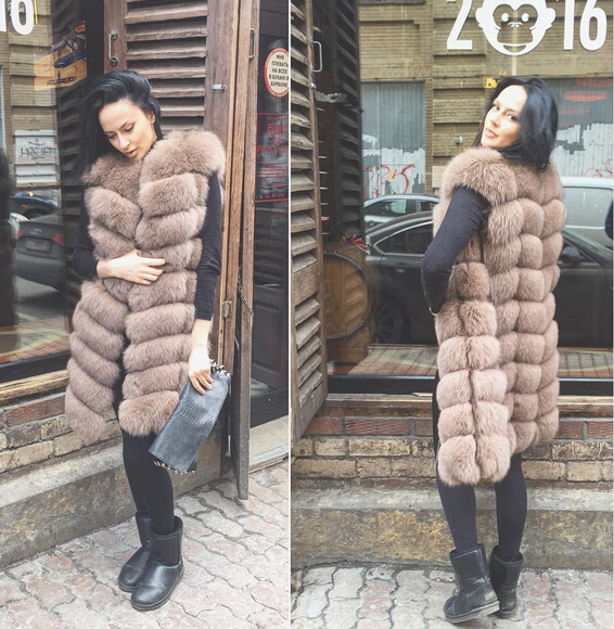 Outerwear Women Long Winter high end design CM natural fox fur vests