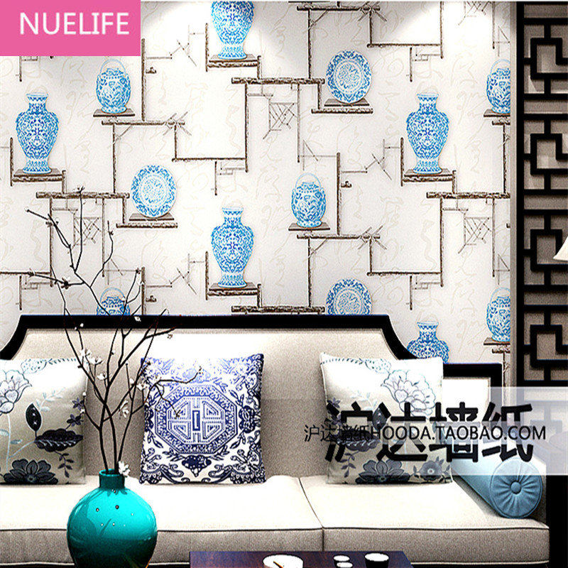 0.53x10m New Chinese Style Wallpaper Living Room Tea House Wallpaper Vintage Blue and White Porcelain Patterns  Wallpaper