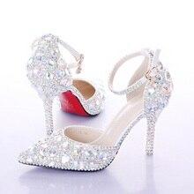 2016 Лето На Высоких Каблуках Женщины Свадебные Туфли Белые Две Части Полые Алмаз Невесты Обувь Кристалл Браслет Красочный Кристалл Обувь