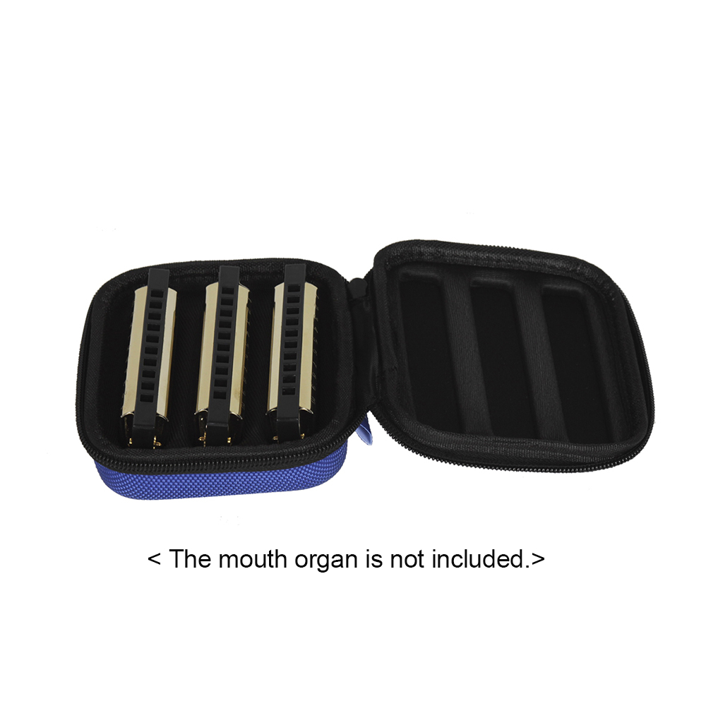 10-Hole Harmonica Bag Mouth Organ Case Box Water-resistant Shock-proof for Storing 3pcs Harmonicas