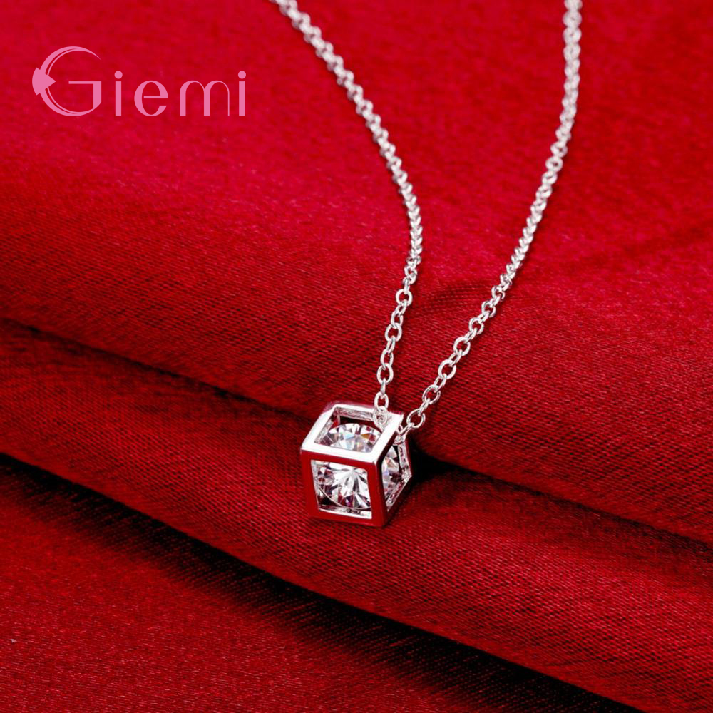 Delicate 925 Sterling Silver Jewelry With Cubic Zirconia Square Pendant Necklace Women Anniversary Lovely Gifts 3