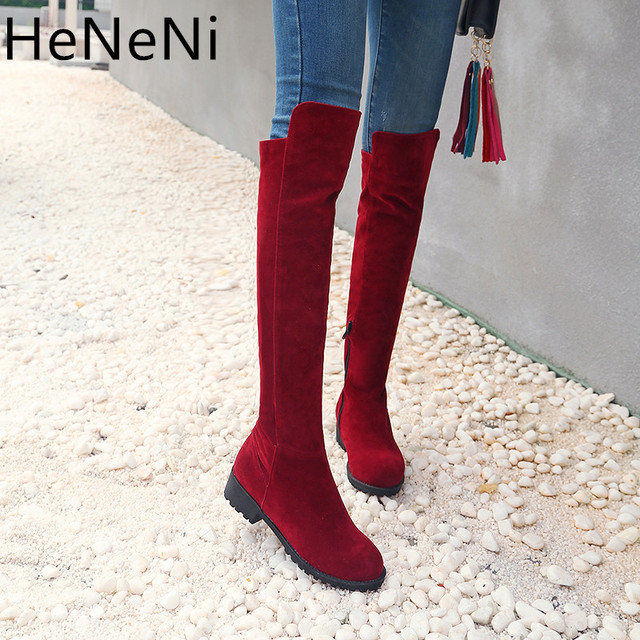 Women Autumn/Winter Shoes Square High Heel Women Over The Knee Boots  Sexy Ladies Party Boots Long Snow Boots Plus size 33-46