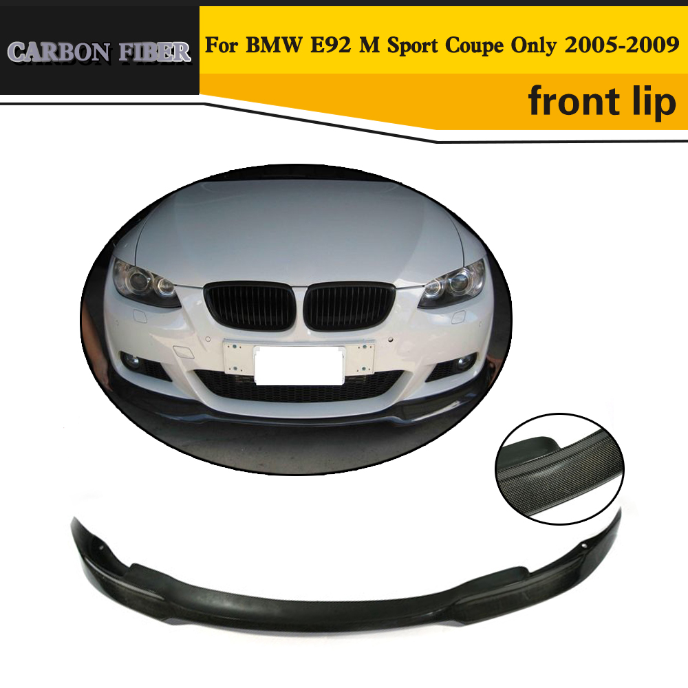 3 Serise Carbon Fiber Car Front Bumper Lip spoiler For BMW E92 M Sport Coupe Only 2005 2006 2007 2008 2009 2 series carbon fiber car bumper front lip diffuser for bmw f22 m sport coupe only 14 17 convertible 220i 230i 235i 228i p style