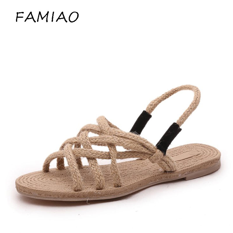 FAMIAO 2018 New Summer Women Sandals Casual Straw Rope Sandals for women Fashion Women Open Toe Fisherman Shoes Female flats