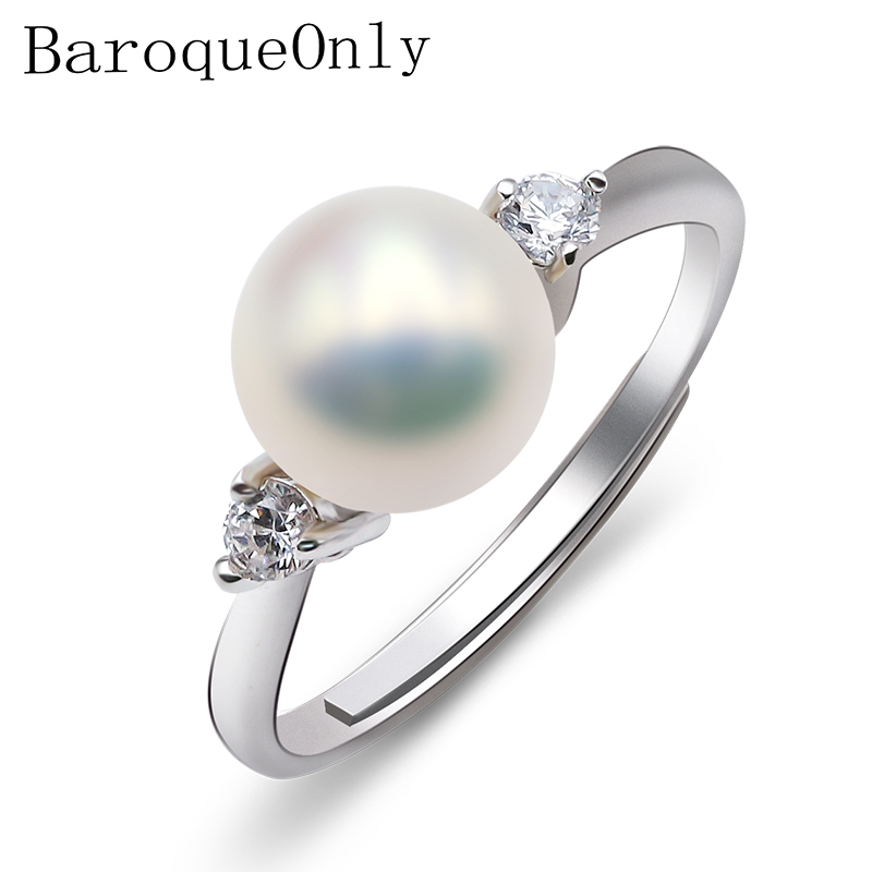 BaroqueOnly Fashion Jewelry 8-9mm Freshwater Pearl Ring For Women Wedding, Beautiful Adjustable Rings RD