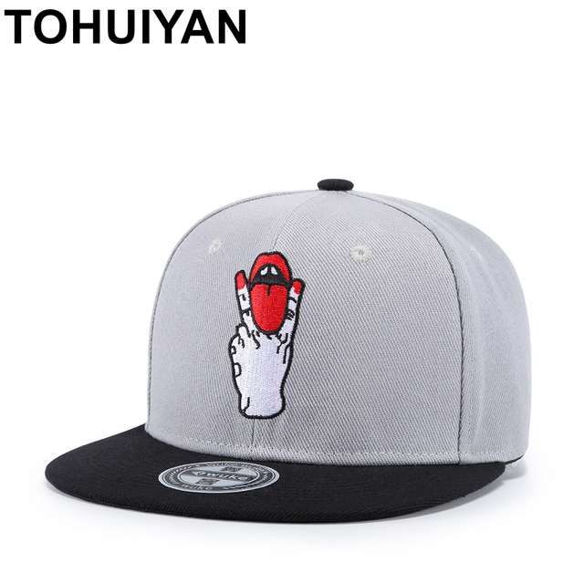 TOHUIYAN Unisex Fashion Classic 6 Panels Acrylic Snapback Cap Mens Flat  Brim Embroidery Baseball Cap Hip Hop Hats Caps For Women 43063e4b5f4
