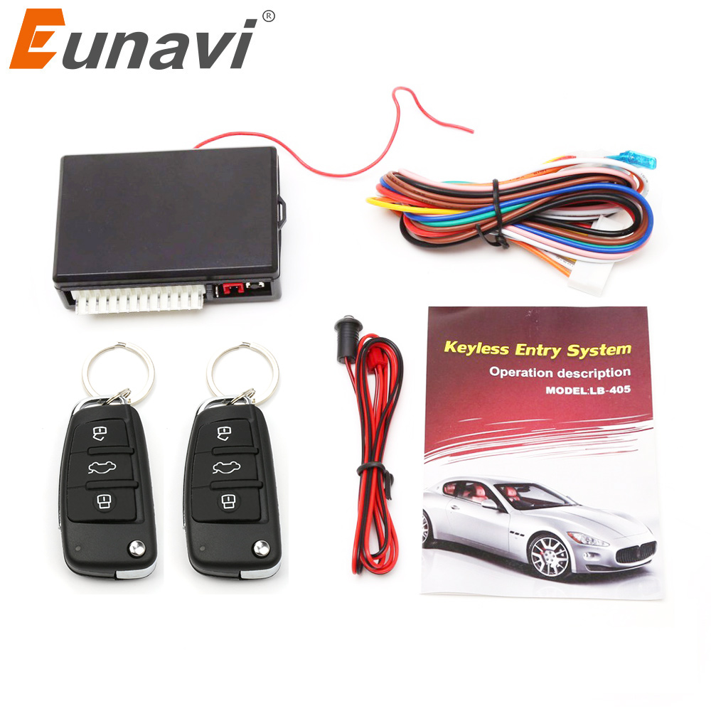 Eunavi Universal Car Auto Keyless Entry System Button Start Stop LED Keychain Central Kit Door Lock with Remote Control easyguard pke car alarm system remote engine start stop shock sensor push button start stop window rise up automatically