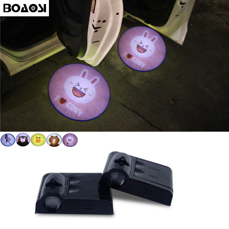 BOAOSI 2x LED Car Door Welcome Light For Mitsubishi Asx Lancer 10 9 Outlander Pajero Sport L200 Galant Carisma Grandis Eclipse for mitsubishi asx lancer 10 9 outlander pajero sport colt carisma canbus l200 w5w t10 5630 smd car led clearance parking light