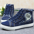 New Top Sale Hot 2017 New Autumn Women Fashion Casual Rhinestone Lace Up Denim Canvas Students Jogging Flat Shoes Plimsoll G059