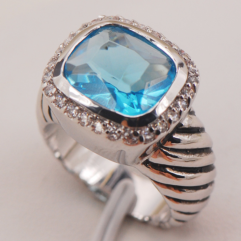 Simulated Aquamarine White Crystal Zircon 925 Sterling Silver Ring Size 6 7 8 9 10 F651 Fashion