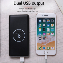 20000mAh Power Bank Fast Wireless Charger Portable Mobile Phone Charger 2USB Wireless Charging Power bank for iPhone 6/7/8 plus