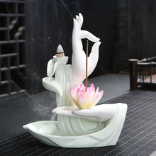 With 20Pcs Cones White Color Incense Burner Buddha Hand Backflow Lotus