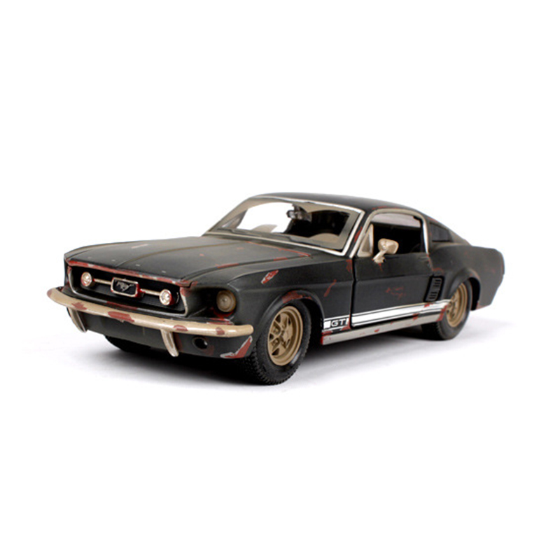 цена на 1/24 1967 Ford Mustang GT black Diecast Model Car toy Car Toys For Boys Children Gifts Collections Displays
