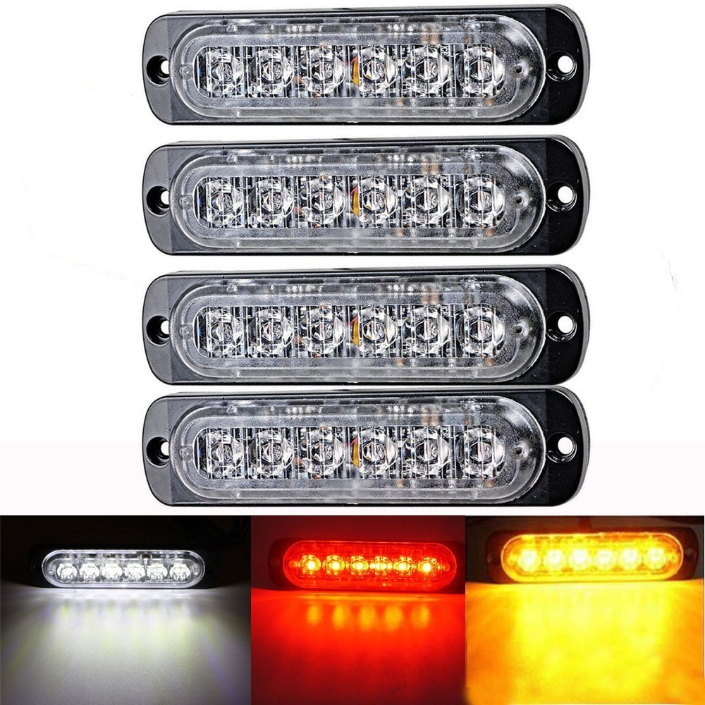 4pcs 12V 6 Led Lights Amber/red/white/blue Car Trailer Truck Motorcycle Side Marker Light Turn Light Bar Indicators  Lamp