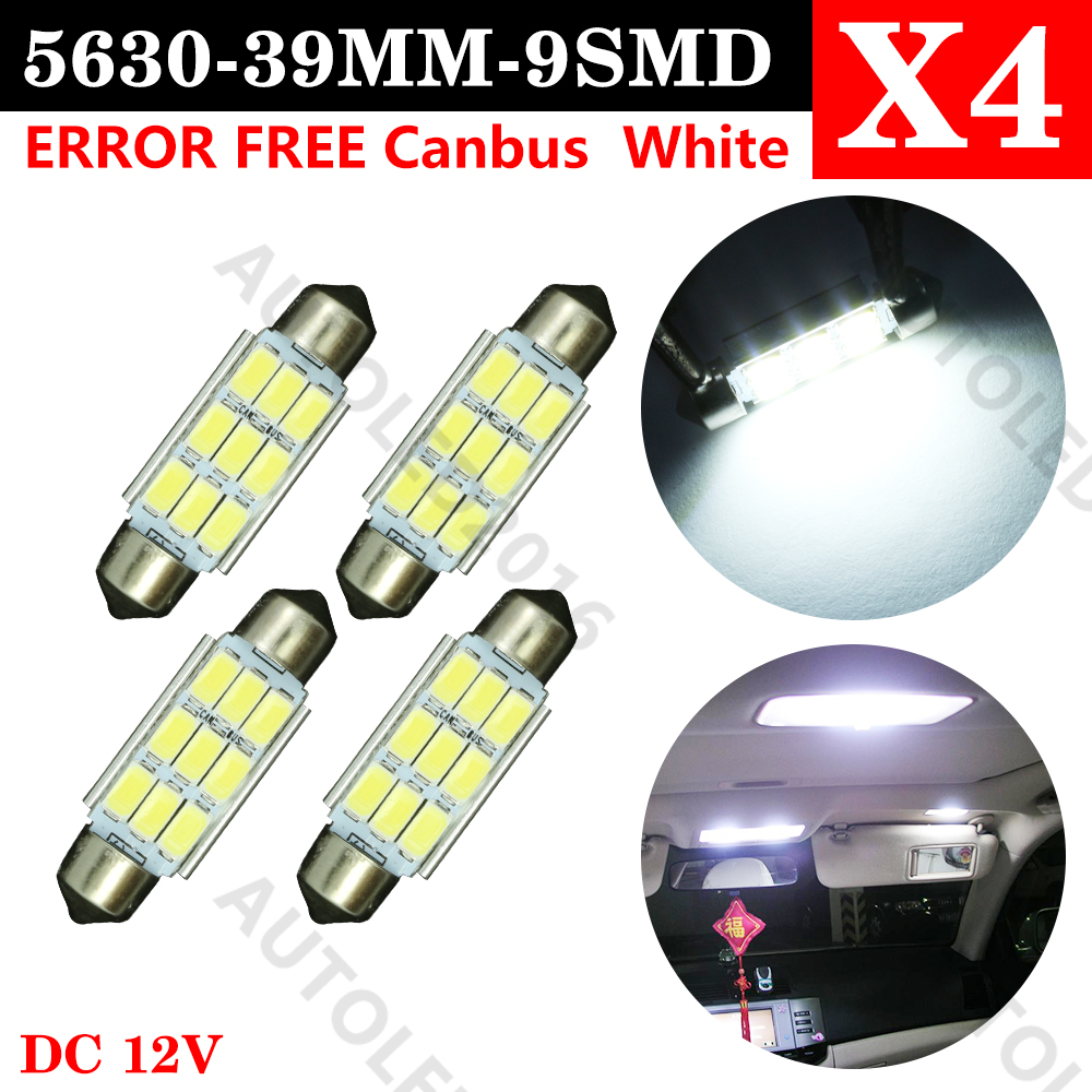 4pc 39mm C5W C10W SV8.5 9 led 5630 smd Festoon CANBUS NO Error Car Licence Plate Light Auto dome lamps Reading Lights 12V 2014 new 2pcs 42mm festoon c10w plasma cob smd led canbus sv8 5 dome map trunk lights bulbs free shipping