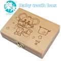 Dientes caja de dientes de leche organizador para bebé ahorre dientes de leche caja de almacenamiento de madera grandes regalos 3-6YEARS creativo para los niños chinos zodiaco rata