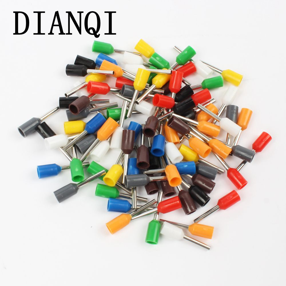 DIANQI E0508 Tube insulating Insulated terminals 0.5MM2 Cable Wire Connector  Insulating Crimp Terminal 100PCS/Pack Connector E- 15pcs a w g 14 6 copper cable lug tube wire crimp terminal ring connector 88a