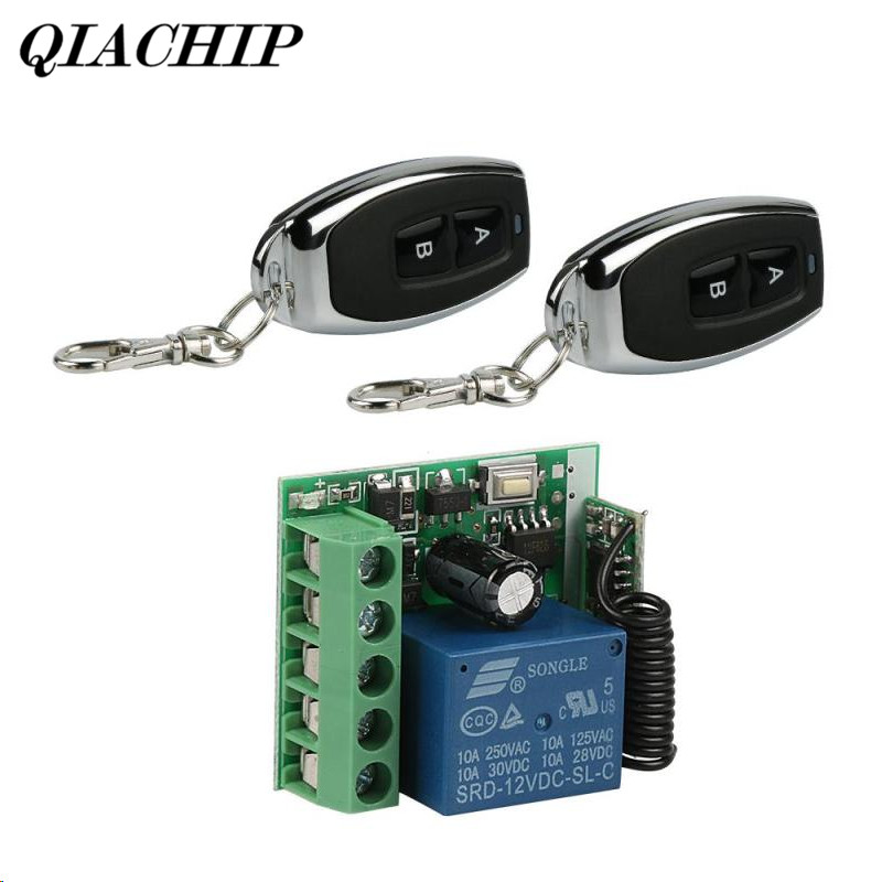 433Mhz Universal Remote Control Switch DC 12V 10A 1 Channel Relay Receiver Module and 2pcs 433Mhz RF Remote Transmitter DS35