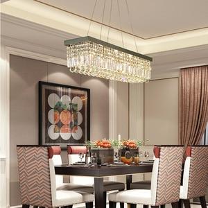 Image 2 - Modern Crystal Chandelier Ánh Sáng Hình Chữ Nhật LED Crystal Light Living Room Đèn Chùm Bar Trần Pendant Ánh Sáng Đạc