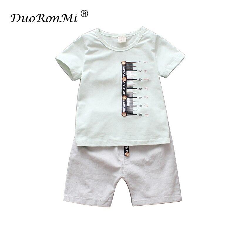 Baby Boys Clothes Sets Summer Boy Clothes T shirt+Mid Pants 2pcs Cotton Sports Letter Printed Suit Children Korean Fashion