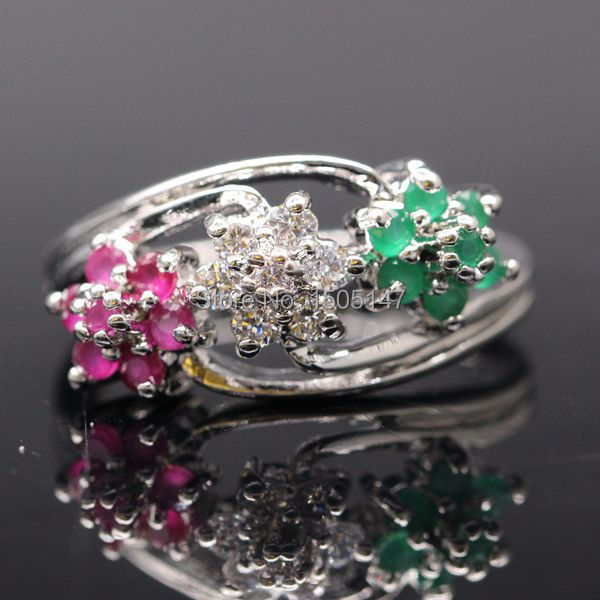 Fashion Lover s Rings Flowers Created Ruby Emerlad Gems AAA CZ White Gold Plated Ring Bridal