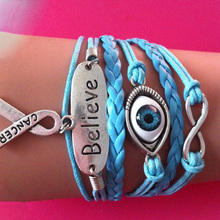 Wholesale Price Silver Infinity Believe Evil Eyes Breast Cancer Charms Awareness blue wax cord leather wrap link bracelet Christ