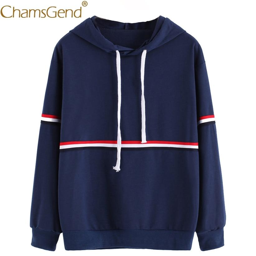 Chamsgend Hoodies Women Girls Casual Striped Navy Hoodie Sweatshit Female Tops Shirt 71218
